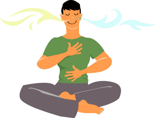 مردی در حال تمرین تنفس